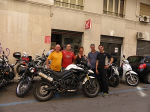 All smiles at Triumph Sicilia in Palermo ...before it wouldn't start